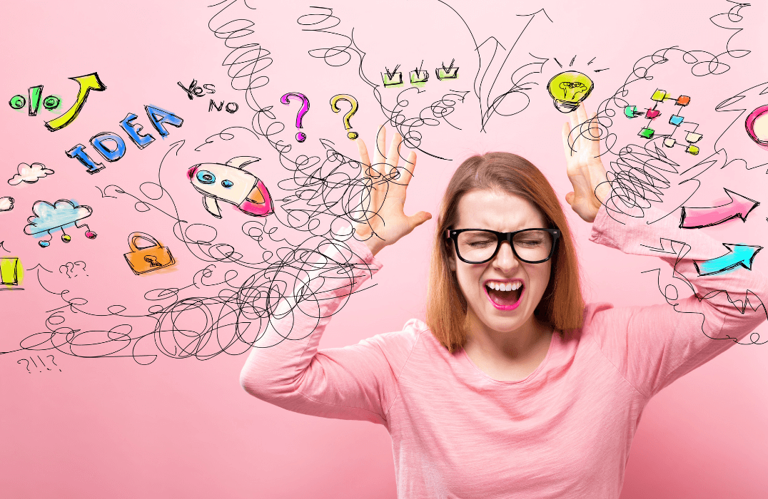 Stressed out woman with pink shirt and pink background with drawings around her head