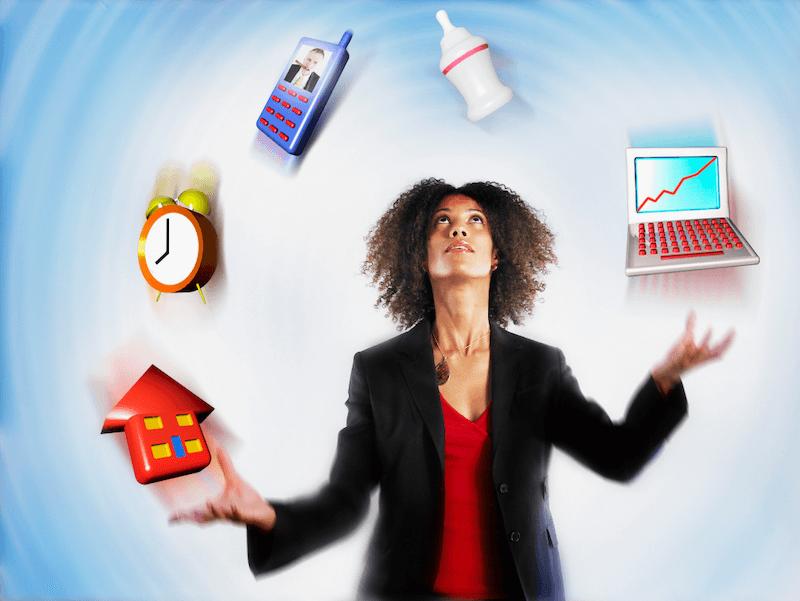 stressed woman juggling responsibilities