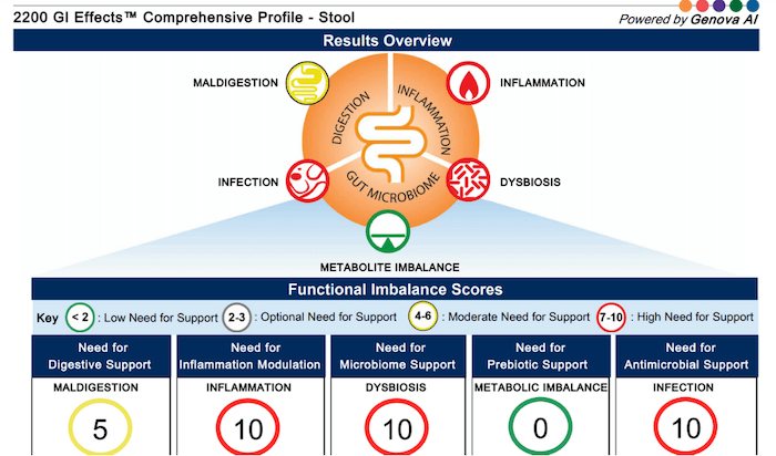 GI effects functional nutrition test comprehensive stool analysis sample report