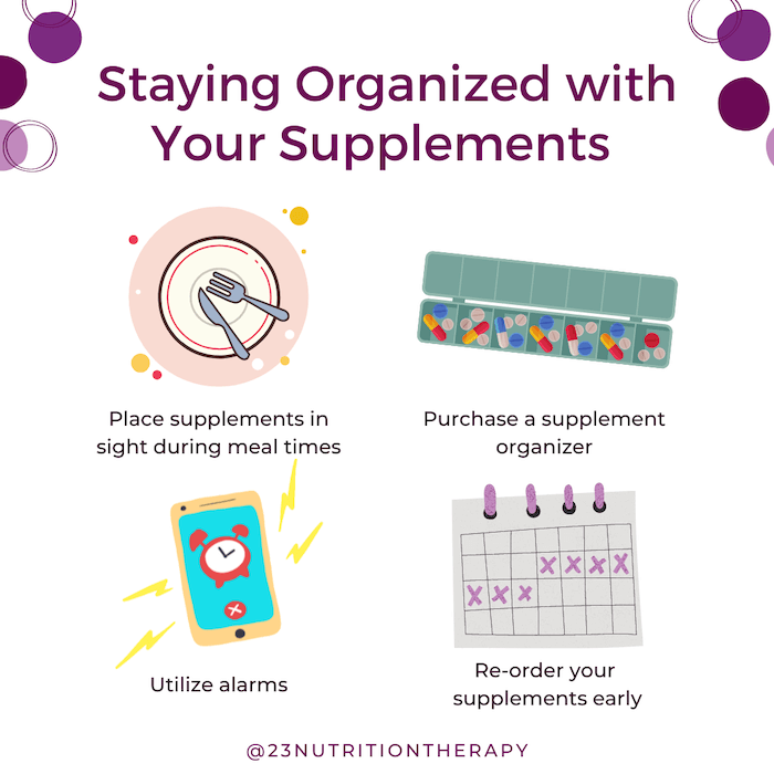 graphic describing my top 4 tips for staying organized with your supplements