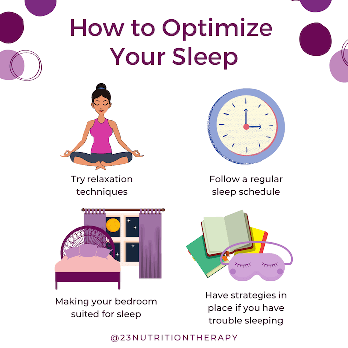 graphic with my tips on how to optimize your sleep